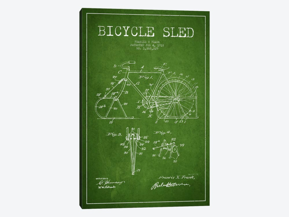Bike Green Patent Blueprint by Aged Pixel 1-piece Canvas Print
