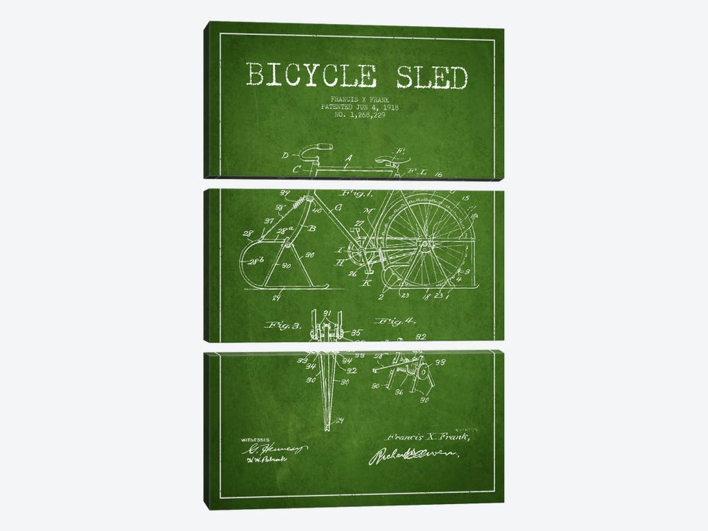 Bike Green Patent Blueprint by Aged Pixel 3-piece Art Print