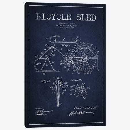 Bike Navy Blue Patent Blueprint Canvas Print #ADP2522} by Aged Pixel Art Print