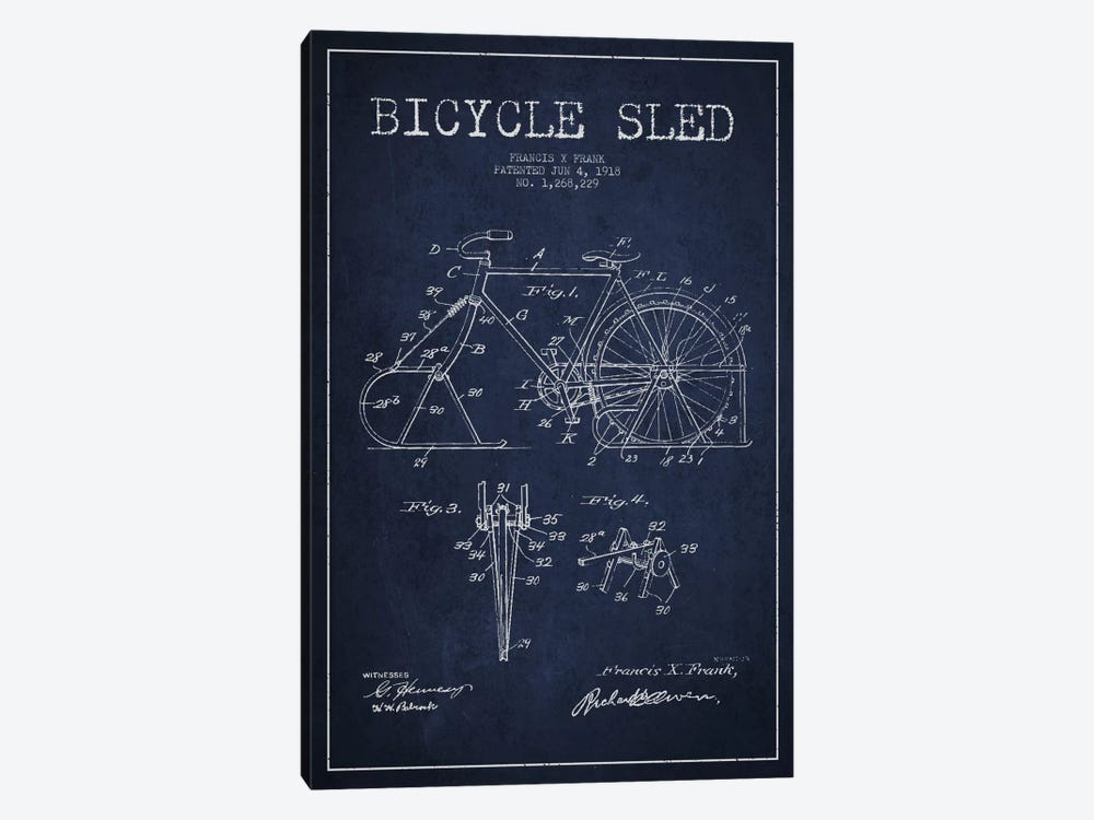 Bike Navy Blue Patent Blueprint by Aged Pixel 1-piece Canvas Art