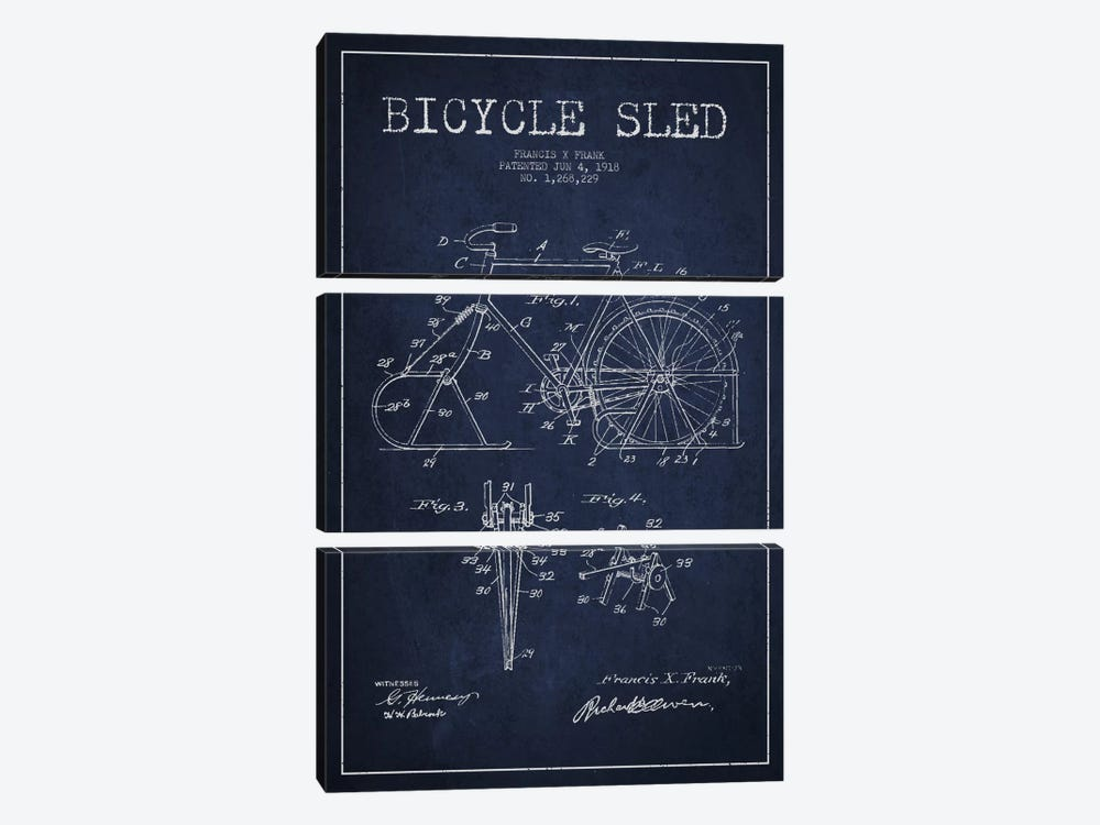 Bike Navy Blue Patent Blueprint by Aged Pixel 3-piece Canvas Artwork