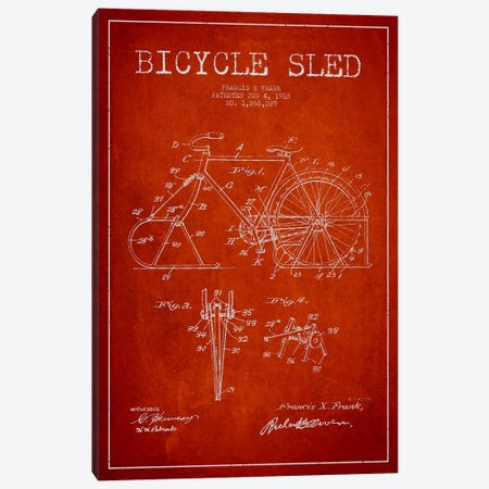 Bike Red Patent Blueprint Canvas Print #ADP2523} by Aged Pixel Canvas Print