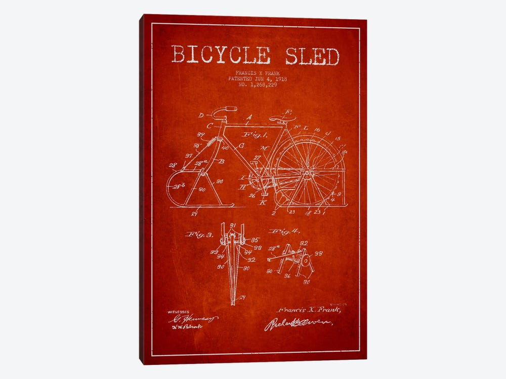 Bike Red Patent Blueprint by Aged Pixel 1-piece Art Print