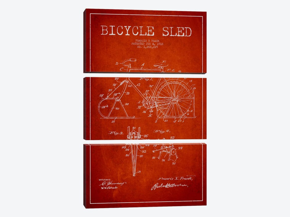 Bike Red Patent Blueprint 3-piece Canvas Print