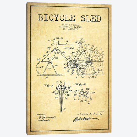 Bike Vintage Patent Blueprint Canvas Print #ADP2524} by Aged Pixel Canvas Art
