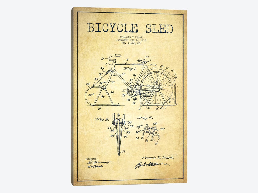 Bike Vintage Patent Blueprint 1-piece Canvas Artwork