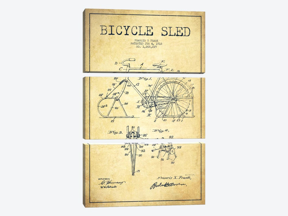 Bike Vintage Patent Blueprint 3-piece Canvas Artwork
