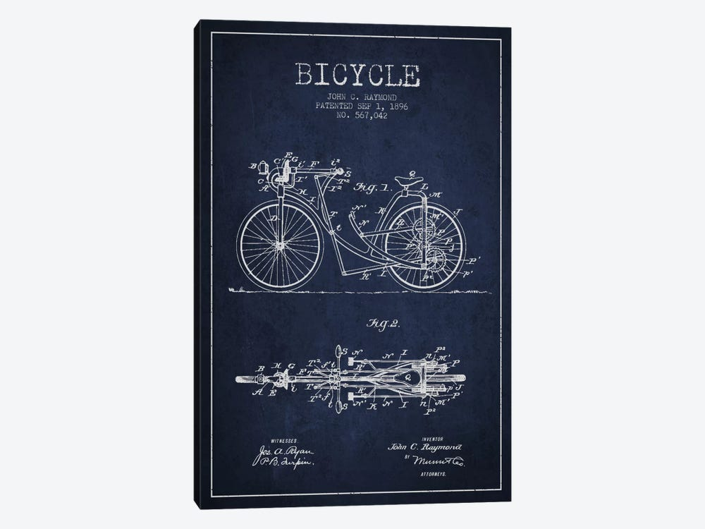 Raymond Bike Navy Blue Patent Blueprint by Aged Pixel 1-piece Canvas Art Print