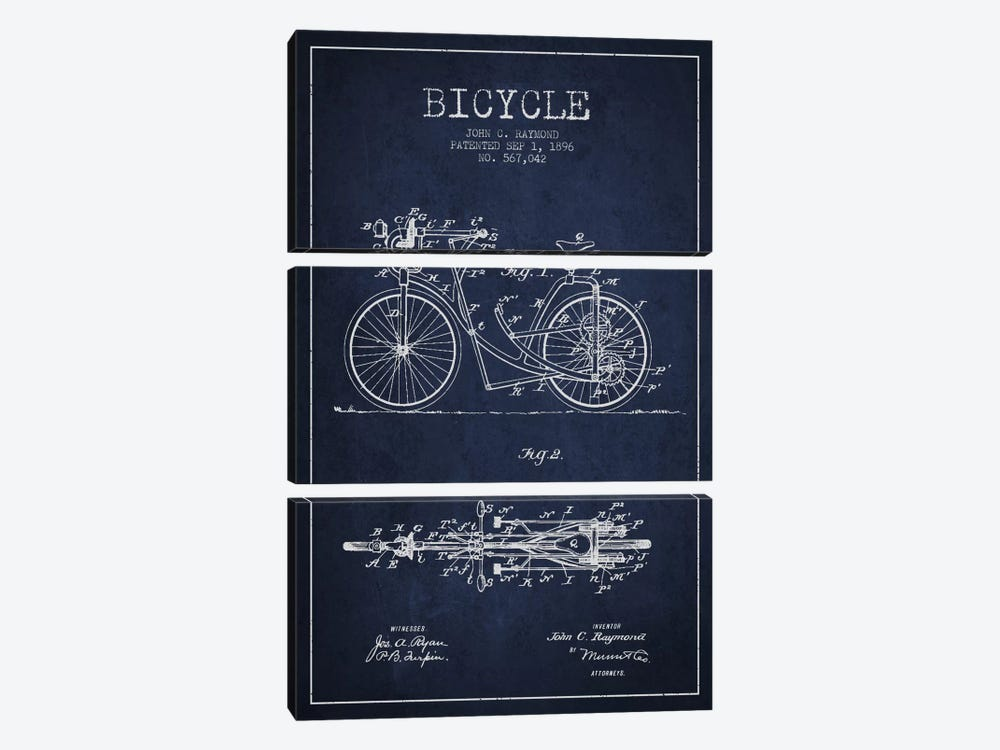 Raymond Bike Navy Blue Patent Blueprint by Aged Pixel 3-piece Art Print