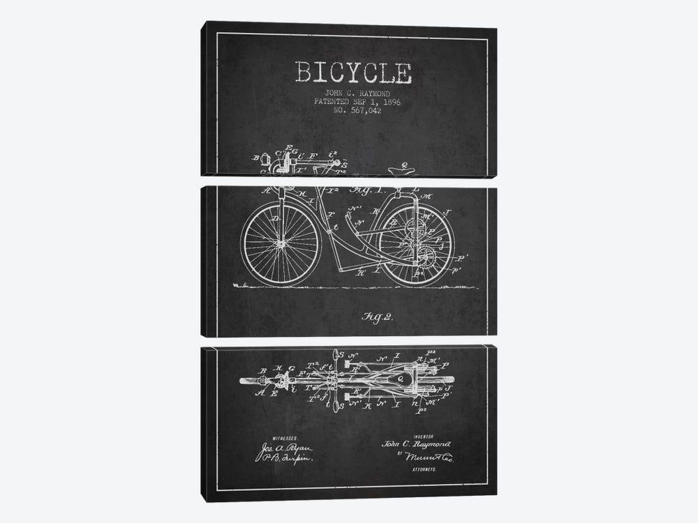 Raymond Bike Charcoal Patent Blueprint by Aged Pixel 3-piece Canvas Art