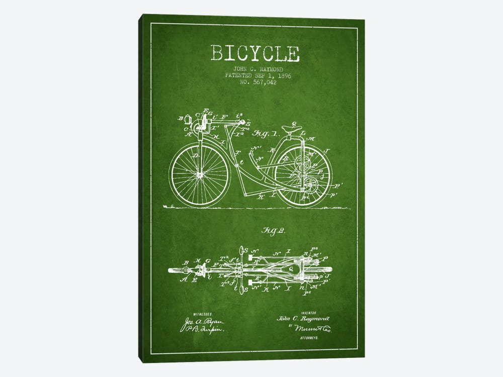 Raymond Bike Green Patent Blueprint 1-piece Canvas Print