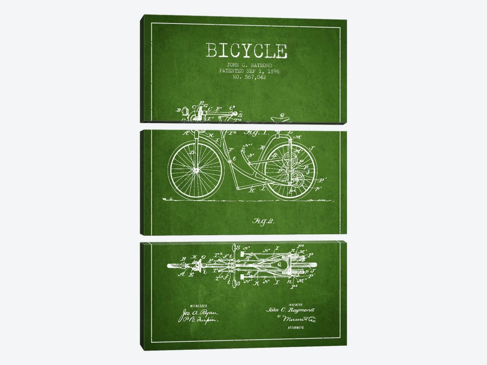Raymond Bike Green Patent Blueprint by Aged Pixel 3-piece Canvas Art Print