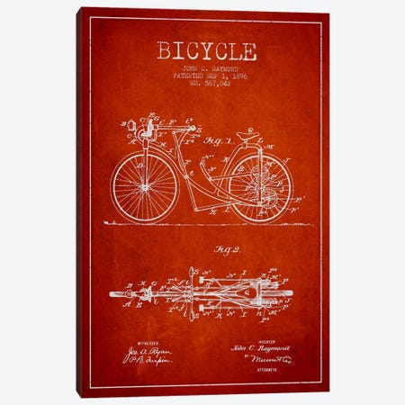 Raymond Bike Red Patent Blueprint Canvas Print #ADP2528} by Aged Pixel Art Print