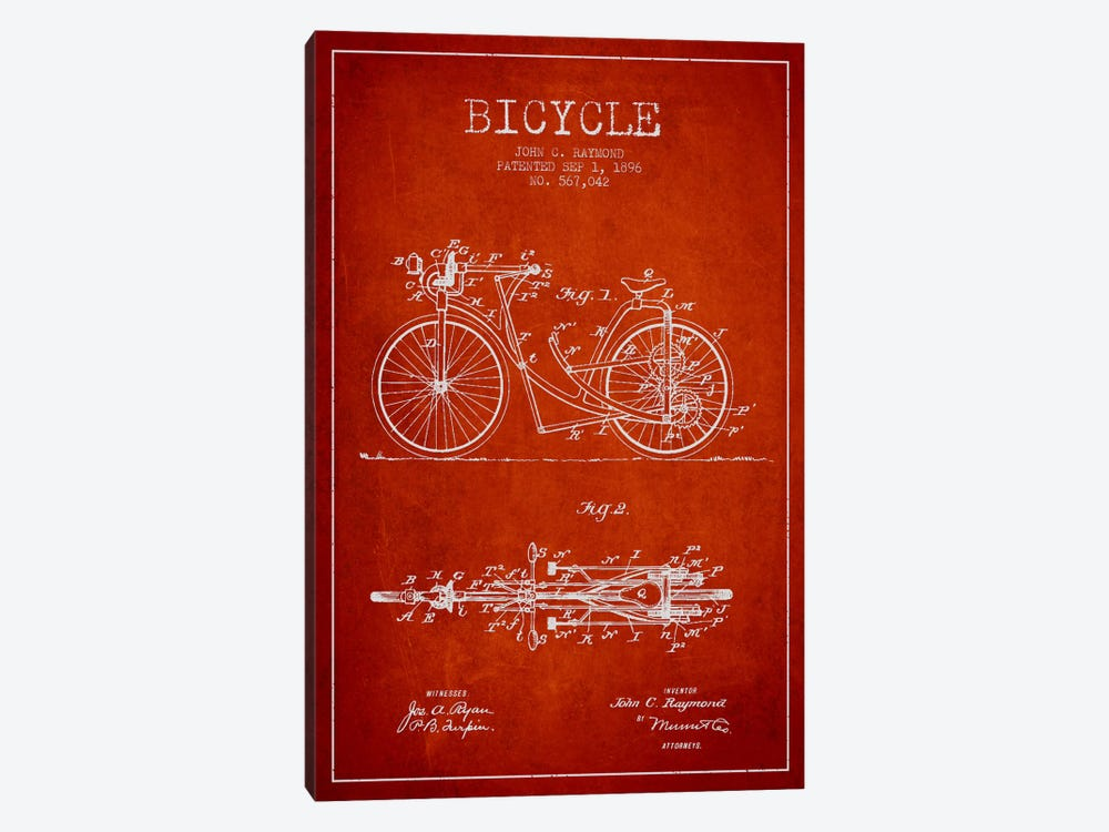 Raymond Bike Red Patent Blueprint by Aged Pixel 1-piece Canvas Art