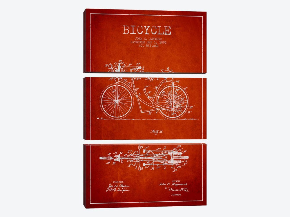 Raymond Bike Red Patent Blueprint by Aged Pixel 3-piece Canvas Wall Art