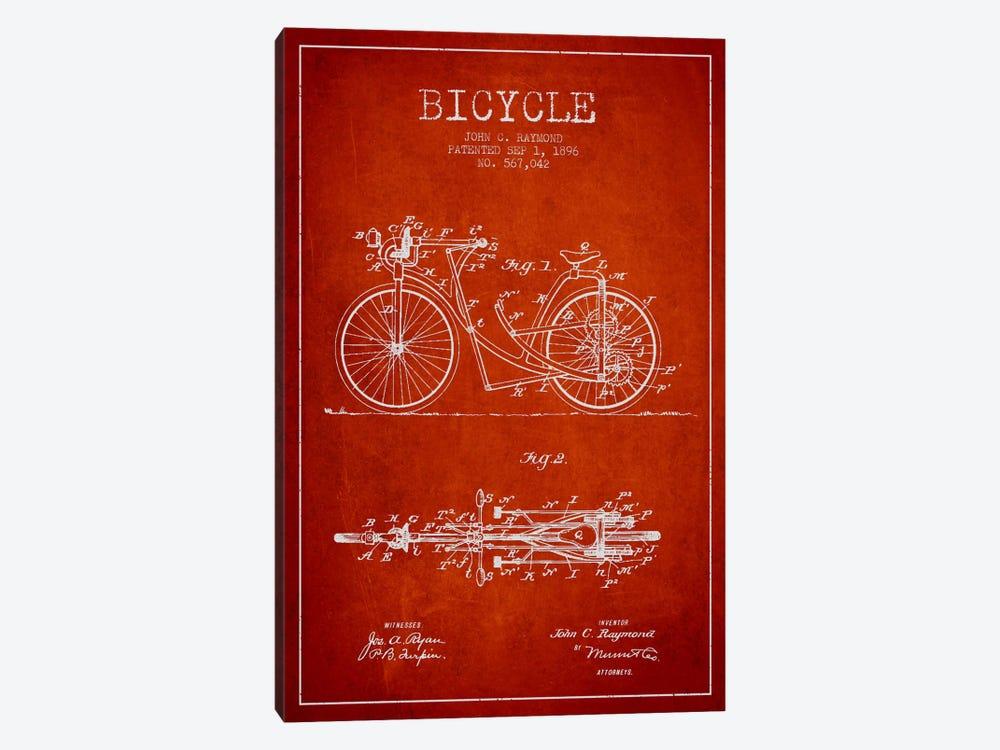 Raymond Bike Red Patent Blueprint by Aged Pixel 1-piece Canvas Art