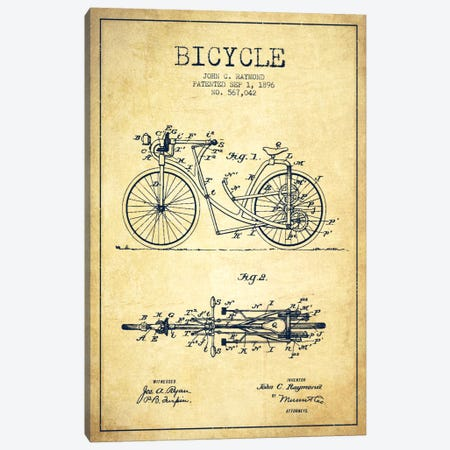 Raymond Bike Vintage Patent Blueprint Canvas Print #ADP2529} by Aged Pixel Canvas Art Print