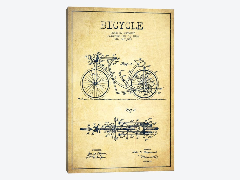 Raymond Bike Vintage Patent Blueprint by Aged Pixel 1-piece Canvas Print
