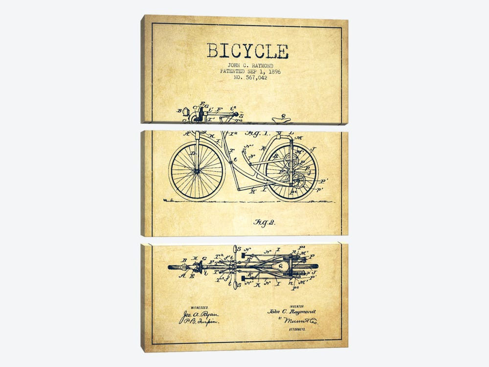 Raymond Bike Vintage Patent Blueprint by Aged Pixel 3-piece Canvas Print