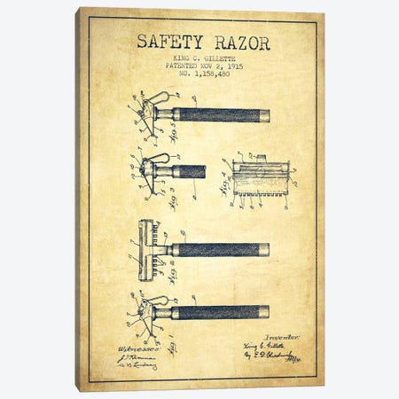 Razor Vintage Patent Blueprint Canvas Print #ADP252} by Aged Pixel Canvas Artwork