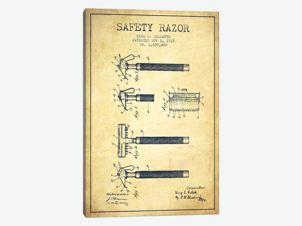 Razor Vintage Patent Blueprint by Aged Pixel 1-piece Canvas Print