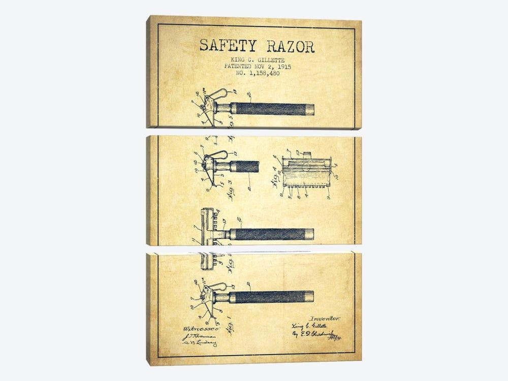 Razor Vintage Patent Blueprint by Aged Pixel 3-piece Canvas Print