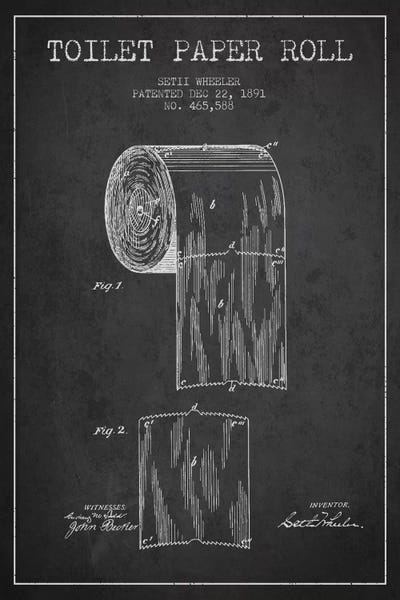 Toilet paper charcoal patent blueprint art print by aged pixel framed print malvernweather Gallery