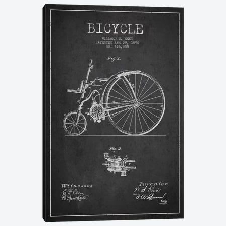 Reed Bike Charcoal Patent Blueprint Canvas Print #ADP2530} by Aged Pixel Canvas Wall Art