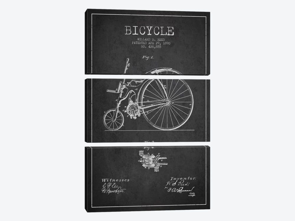 Reed Bike Charcoal Patent Blueprint by Aged Pixel 3-piece Art Print