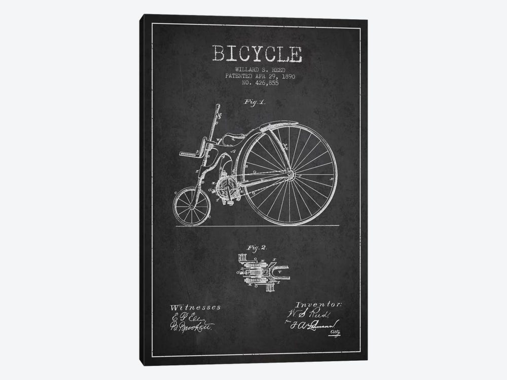 Reed Bike Charcoal Patent Blueprint by Aged Pixel 1-piece Art Print