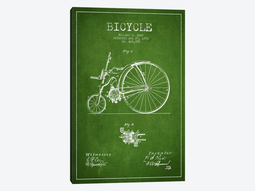 Reed Bike Green Patent Blueprint 1-piece Canvas Artwork