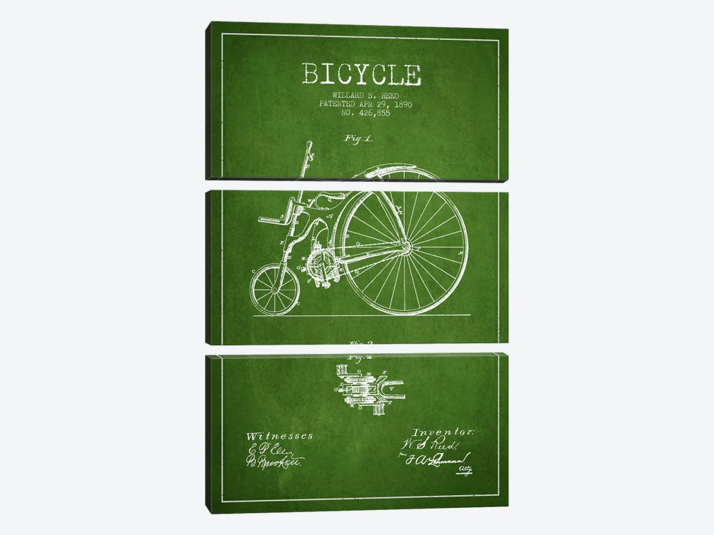 Reed Bike Green Patent Blueprint by Aged Pixel 3-piece Canvas Artwork
