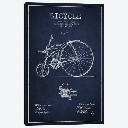 Reed Bike Navy Blue Patent Blueprint Canvas Print #ADP2532} by Aged Pixel Canvas Wall Art