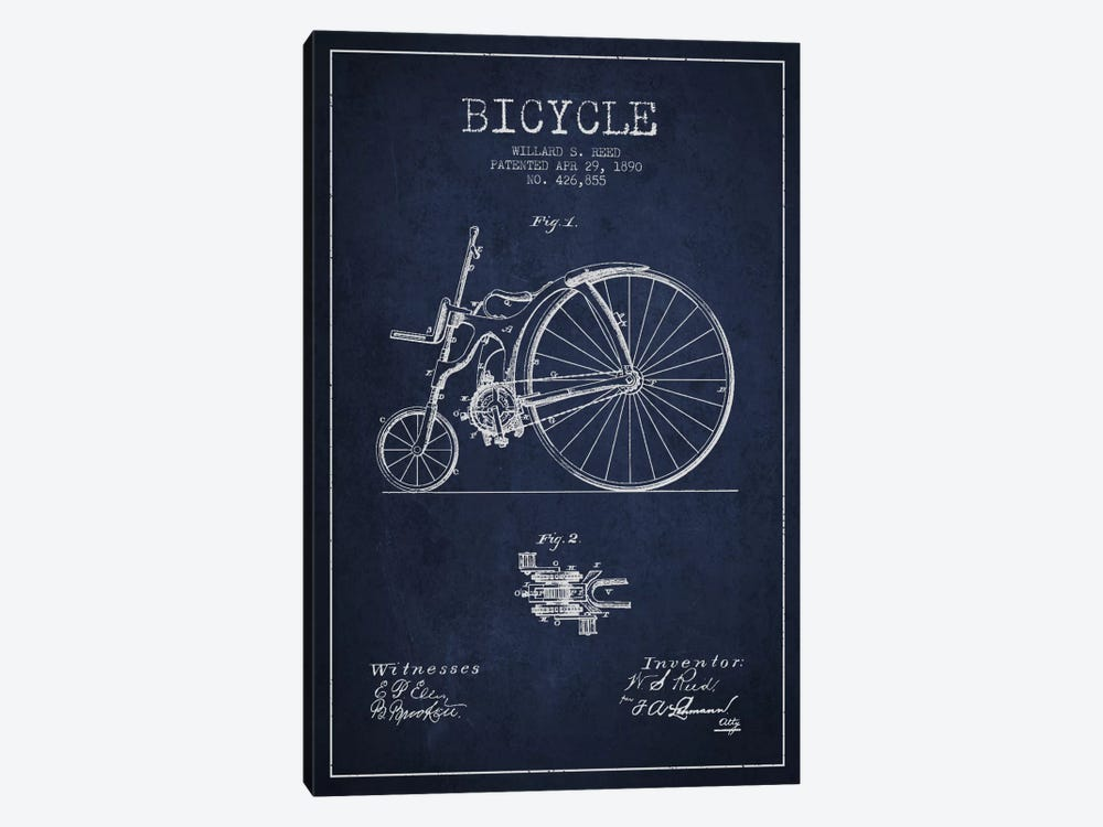 Reed Bike Navy Blue Patent Blueprint by Aged Pixel 1-piece Art Print