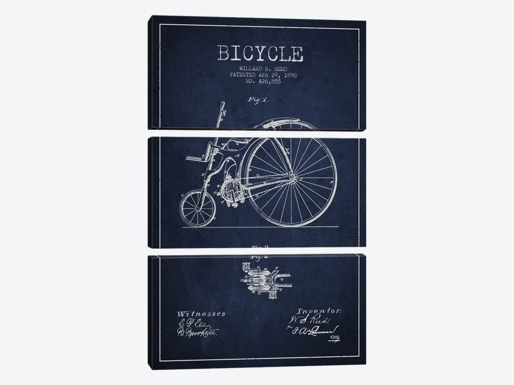 Reed Bike Navy Blue Patent Blueprint by Aged Pixel 3-piece Canvas Print