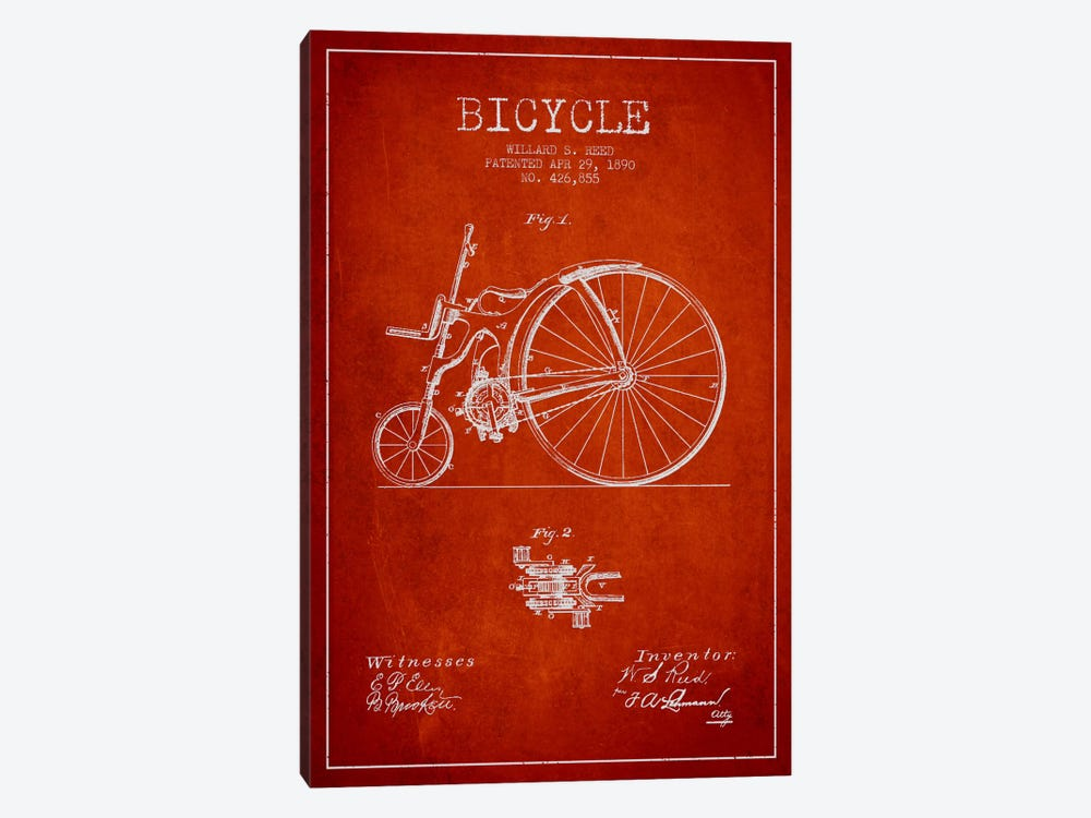 Reed Bike Red Patent Blueprint by Aged Pixel 1-piece Canvas Artwork