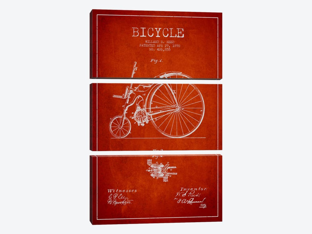 Reed Bike Red Patent Blueprint by Aged Pixel 3-piece Canvas Wall Art