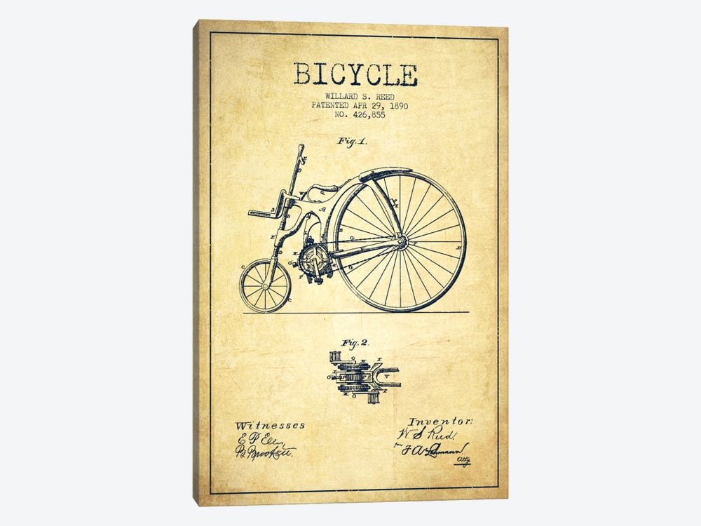 Reed Bike Vintage Patent Blueprint by Aged Pixel 1-piece Canvas Art Print
