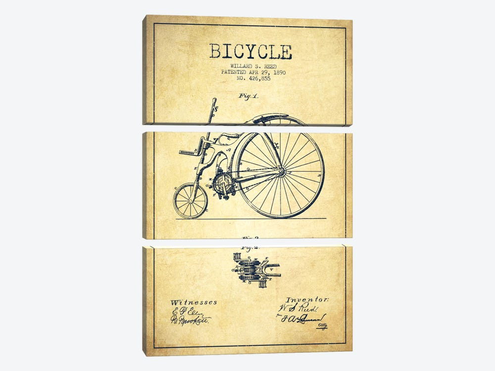 Reed Bike Vintage Patent Blueprint by Aged Pixel 3-piece Art Print