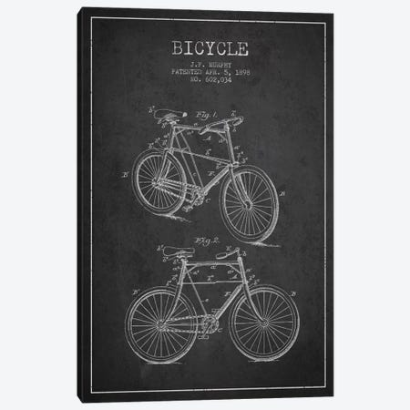 Bike Charcoal Patent Blueprint Canvas Print #ADP2535} by Aged Pixel Art Print