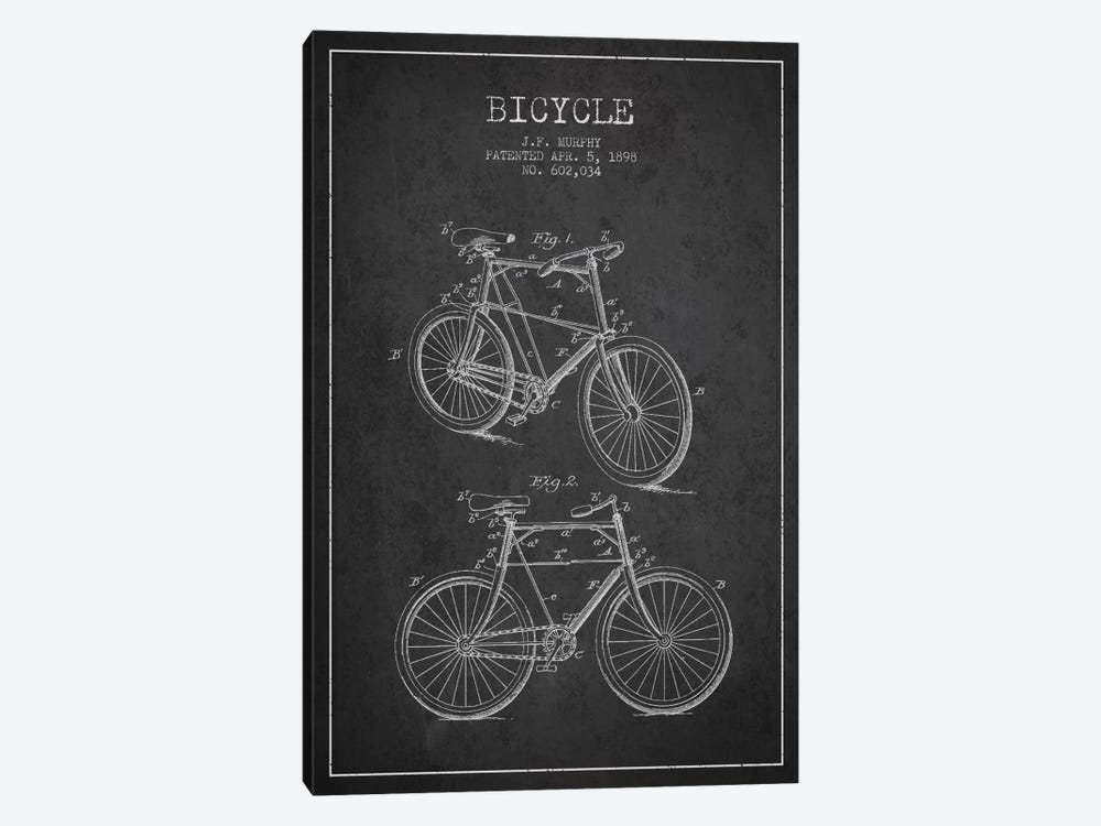 Bike Charcoal Patent Blueprint by Aged Pixel 1-piece Canvas Artwork