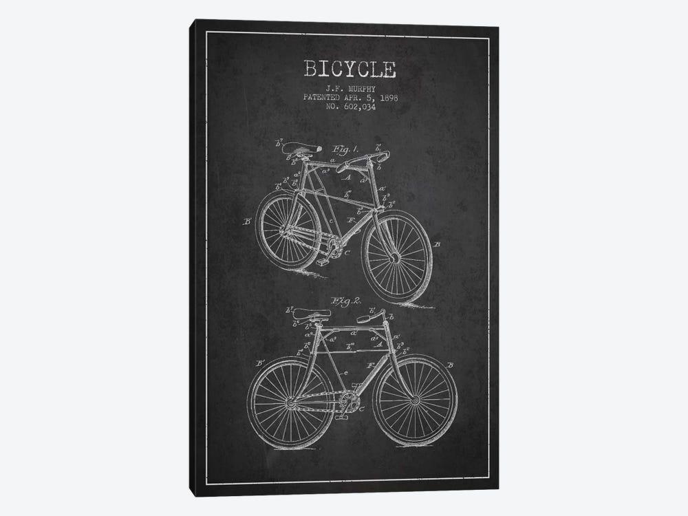 Bike Charcoal Patent Blueprint by Aged Pixel 1-piece Canvas Artwork