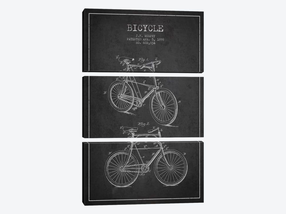 Bike Charcoal Patent Blueprint by Aged Pixel 3-piece Canvas Art