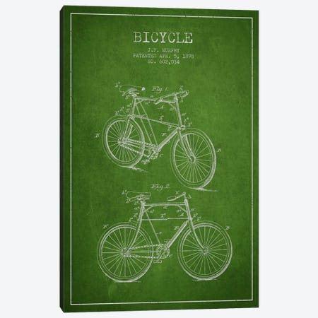 Bike Green Patent Blueprint Canvas Print #ADP2536} by Aged Pixel Canvas Art Print