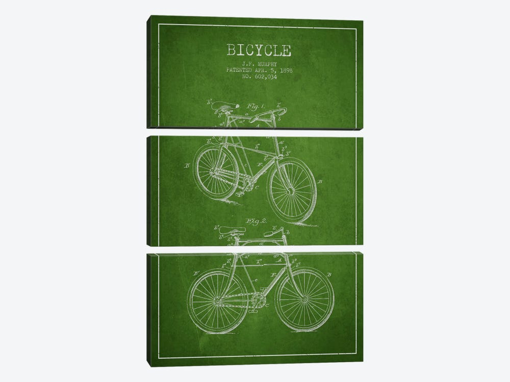 Bike Green Patent Blueprint 3-piece Art Print
