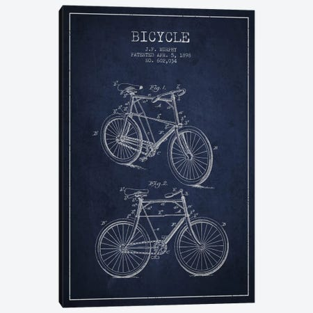 Bike Navy Blue Patent Blueprint Canvas Print #ADP2537} by Aged Pixel Canvas Print