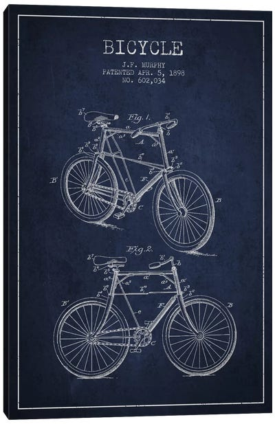 Bike Navy Blue Patent Blueprint Canvas Art Print