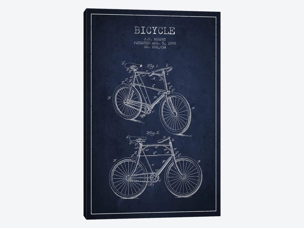 Bike Navy Blue Patent Blueprint 1-piece Canvas Art