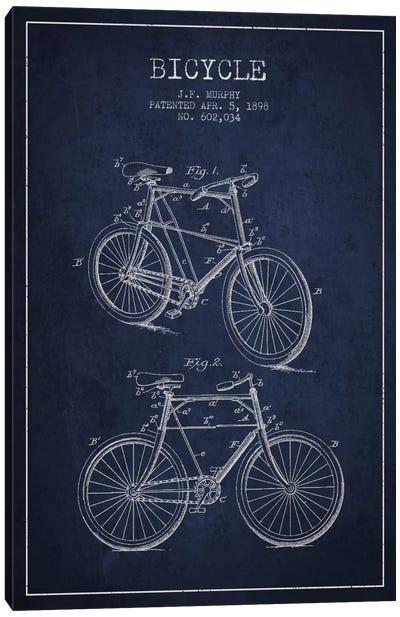 Bike Navy Blue Patent Blueprint Canvas Art Print
