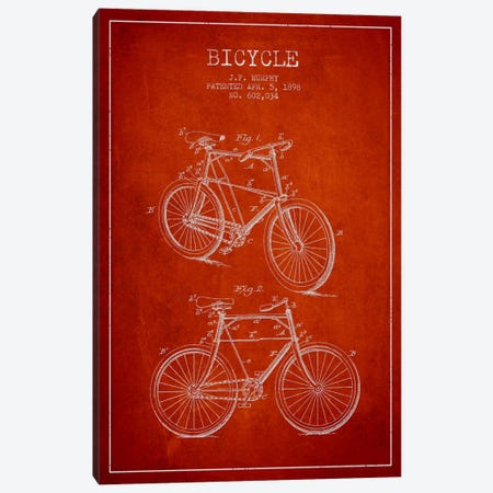 Bike Red Patent Blueprint Canvas Print #ADP2538} by Aged Pixel Canvas Art